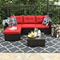 PHI VILLA 3-Piece Outdoor Rattan Sectional Sofa- Patio Wicker Furniture Set