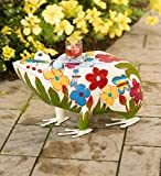 Folk Art Frog Table in Colorful Painted Metal 24 L x 13 W x 14 H