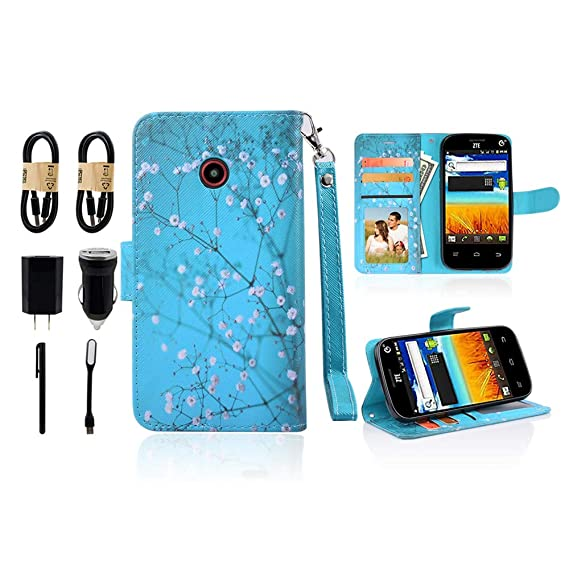 for ZTE N818S QLink Wireless Case Wallet Grip Kickstand Pouch Pocket Purse  Screen Flip Cover for ZTE Sapphire 3g [Value Bundle] (Blooming Teal)