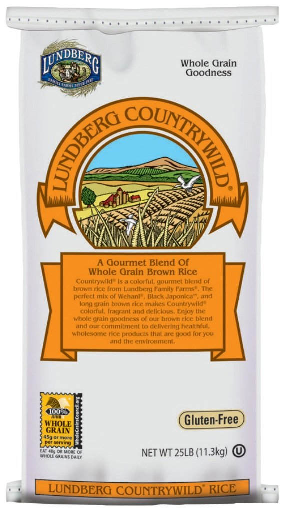 Lundberg Family Farms Gourmet Countrywild Whole Grain Brown Rice, 25 Pounds (Packaging May Vary)