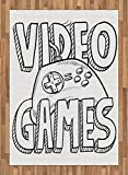 Boy's Room Area Rug by Lunarable, Doodle Style Video Games Typography Design with a Controller Sketch Artwork, Flat Woven Accent Rug for Living Room Bedroom Dining Room, 5.2 x 7.5 FT, Black White