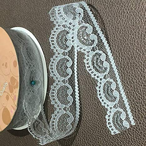Flower Parten 1 inch 25 Yards Lace Trim Ribbon Cream Vintage Lace Ribbon for Sewing and Bridal Wedding Scalloped Decorations Clothe to White Assorted Pattern Ivory