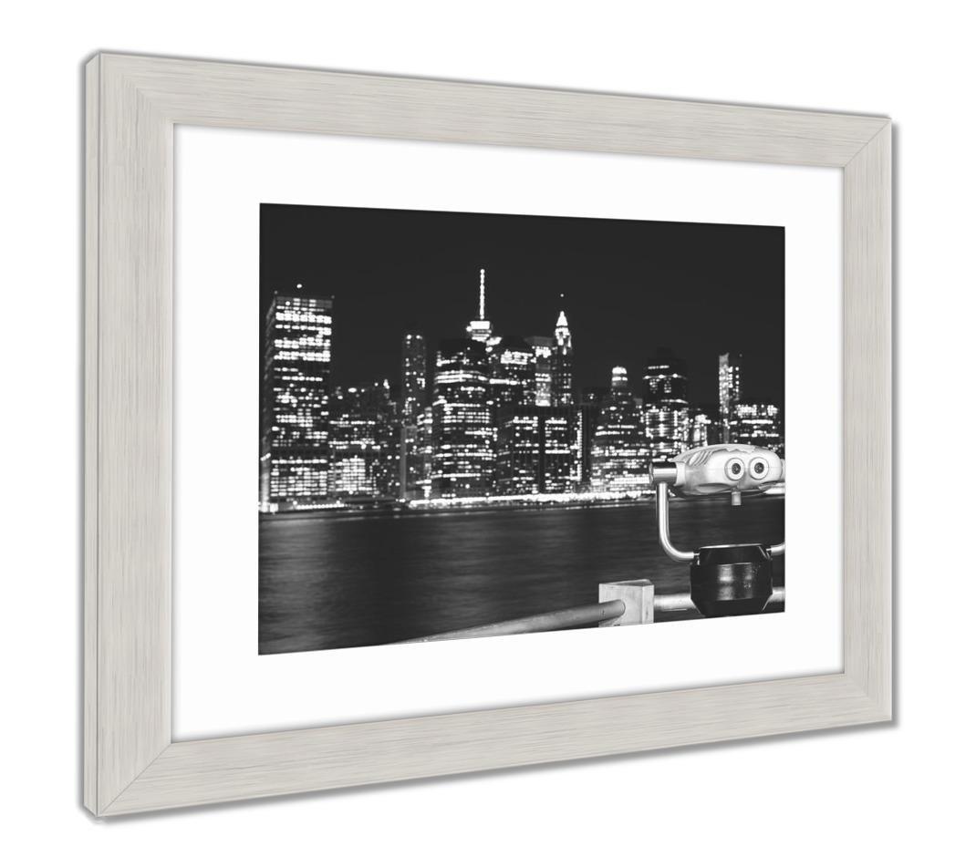 "Ashleyフレームプリント、ニューヨーク市スカイラインwith双眼鏡at Night Color Toning適用Focus on 34"" x 40"", Silver Frame 6475642-AFPL1-SB24 B07B45J138  Vintage Black/White 34\"
