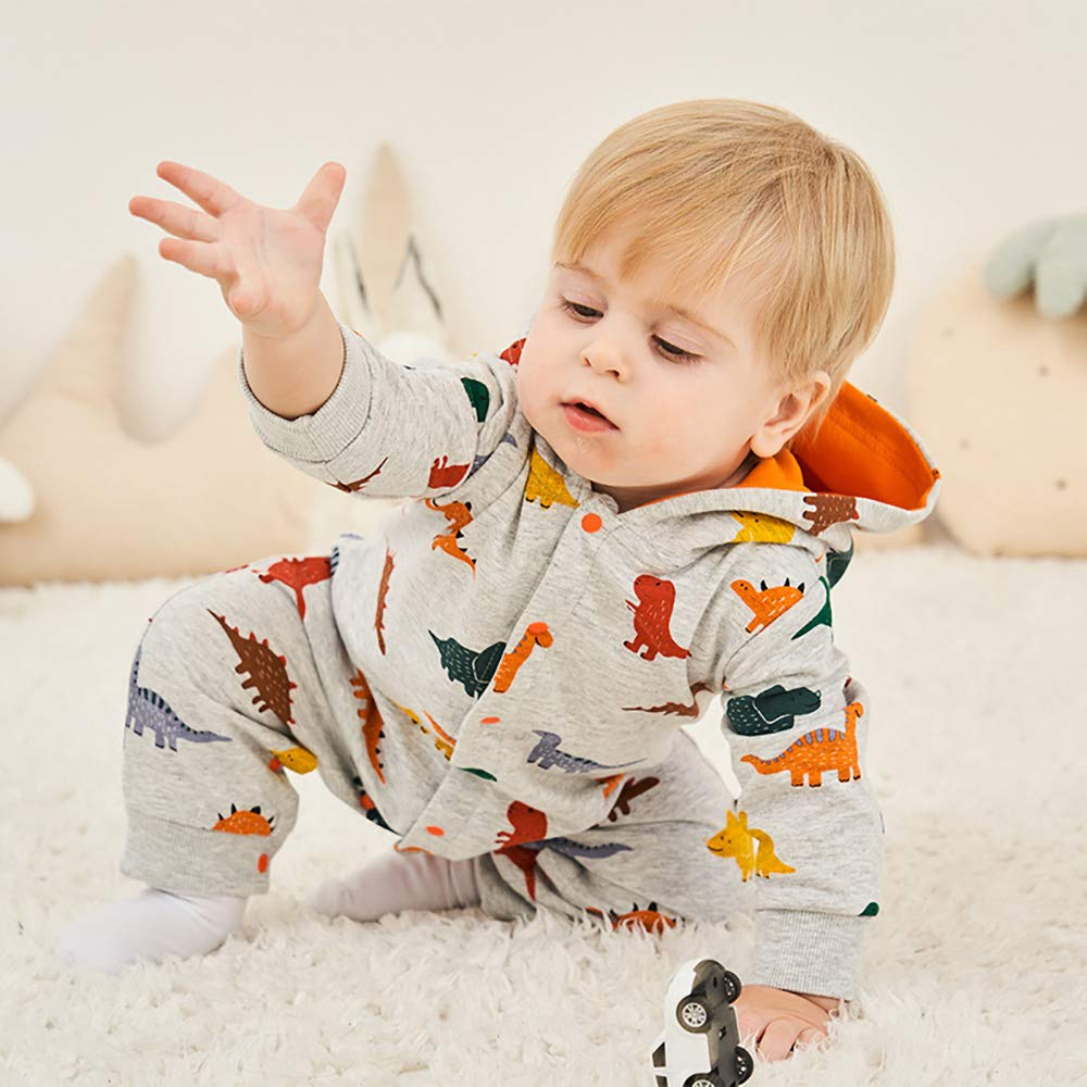 EIIORPO Newbron Baby Boy Girl Lovely Dinosaur Hooded Romper Jumpsuit Long Sleeve Button Design 100/% Pure Cotton Clothes.