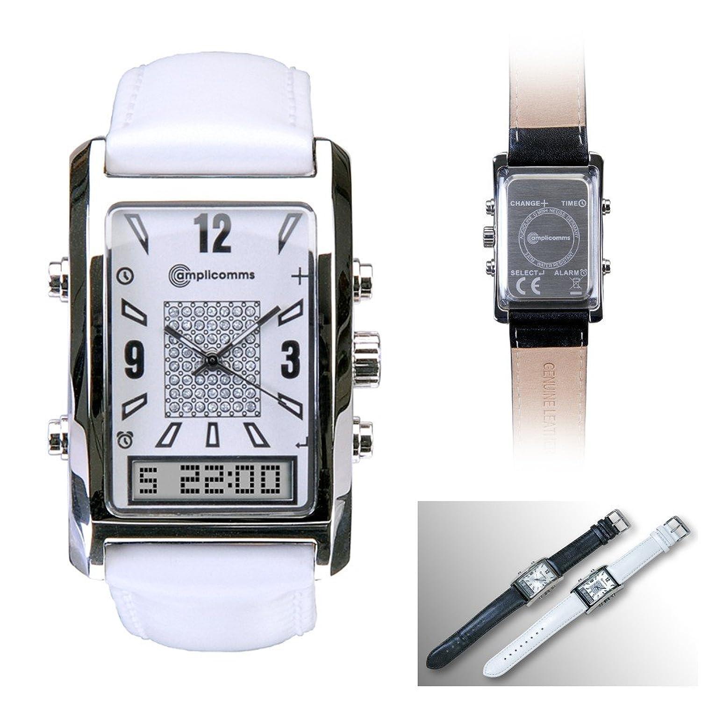 AW 500 L Leder Damenarmbanduhr mit Vibration Uhr Wecker Watch weiß