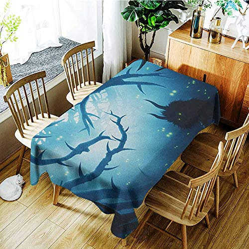 XXANS Waterproof Table Cover,Mystic,Animal with Burning Eyes in The Dark Forest at Night Horror Halloween Illustration,Table Cover for Dining,W60X102L Navy -