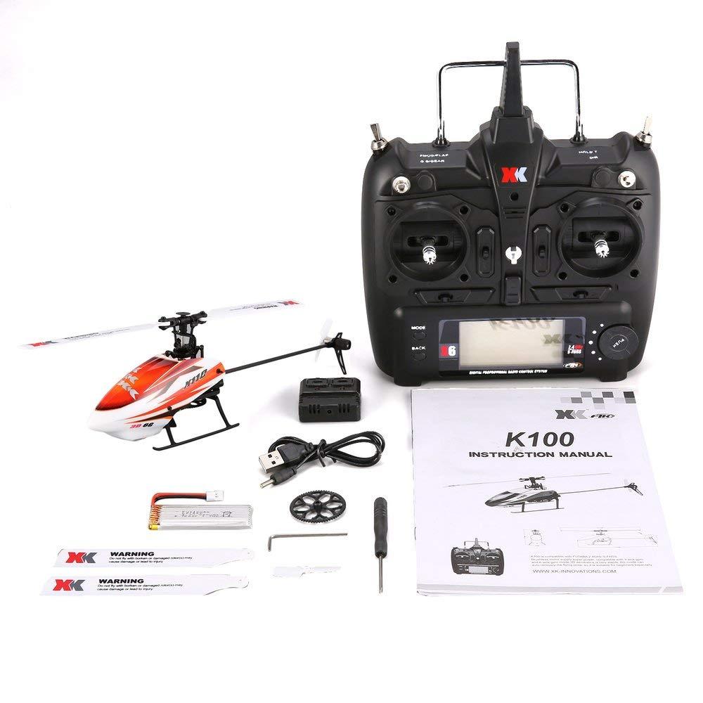 Erduo XK K110 6CH 3D 6G System Mini Brushless RC Fernsteuerungshubschrauber Drohne Spielzeug mit eingebautem Gyro RTF für Geschenk - Orange