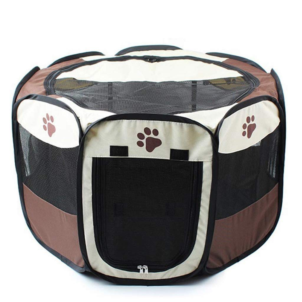 Brown AWQEYMX Fence pet sports pen Folding pet tent nest fence folding cat cage dog cage small dog cage Puppy play pen (color   Brown, Size   A)