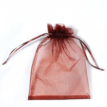 Amazon.com: 100 pcs 7 x 9 cm cordón bolsa de organza bolsas ...