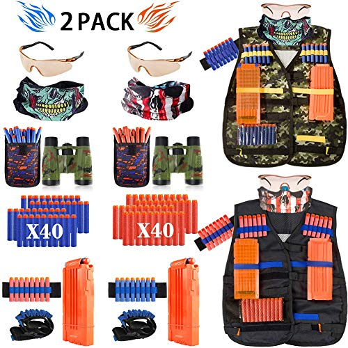 AILUKI Kids Tactical Vest Kit for Nerf Guns Game N-Strike Elite Series Wars with Refill Darts, Reload Clips, Dart Pouch, Tactical Mask, Wrist Band and Protective Glasses for Boys ,Girls - 2 Pack