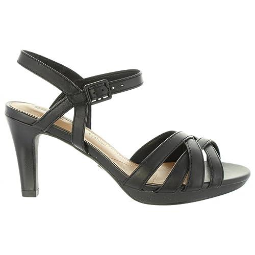 Women/'s Clarks Mayra Poppy Leather Sling Back Heels in Black Size 3.5