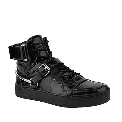 01d8bea97 Gucci Men's Strap Horsebit Black Patent Leather Hi Top Sneaker 407373 1000  (10.5 G/