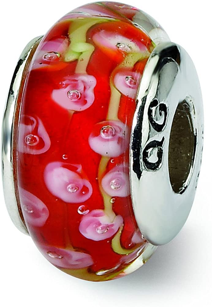 Sterling Silver Reflections Pink//Red Hand-Blown Glass Bead