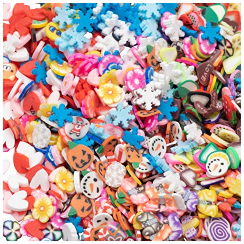 (10,000-Piece 3D Nail Art Slices - 0.24-Inch Polymer Clay Slices in Fruit, Flower, Snowflakes, Animal, for Slime, Nail Art)