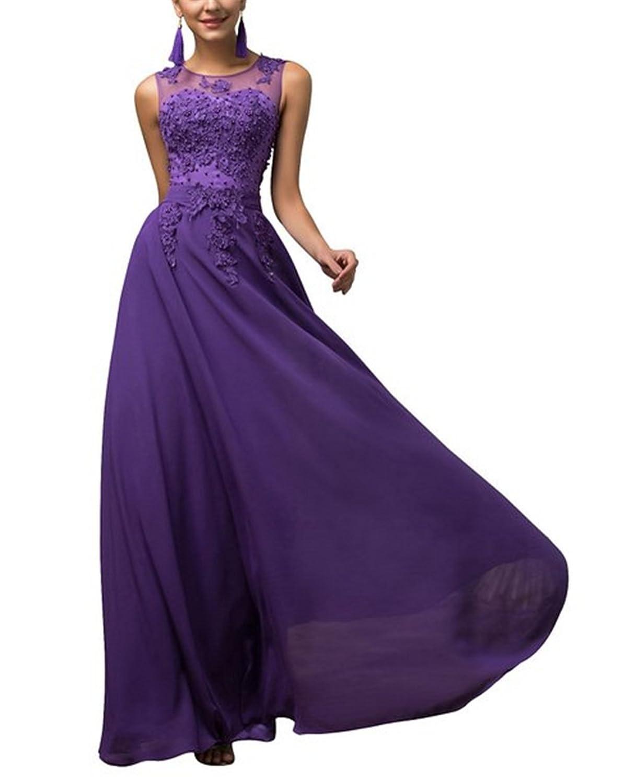 HelloGirls Women Prom Chiffon Bridesmaid Dresses Applique V-back Long Evening Dress