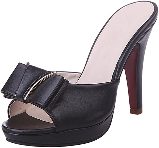 6f3af9959e Gaorui Women Sexy Open Toe Stiletto Mules Slip on High Heel Sandals Office  Party Shoes Black 2 UK: Amazon.co.uk: Shoes & Bags