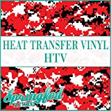 DIGITAL CAMO PATTERN HTV RED, BLACK & WHITE Camo 12''x15' (5 Yards) Heat Transfer Vinyl Team Inspired Roll of Camo for Shirts