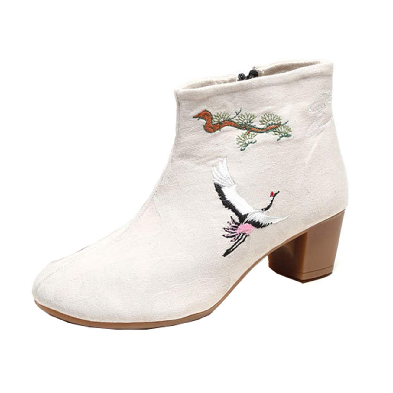 Eeayyygch Frauen-Folk-Stil Stickerei Stickerei Stickerei Block-Ferse Zip Ankle Stiefel (Farbe   Beige, Größe   3 UK) 8856ca