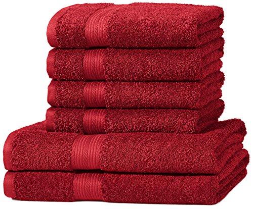 AmazonBasics Handtuch-Set, ausbleichsicher, 2 Badetücher und 4 Handtücher, Rot