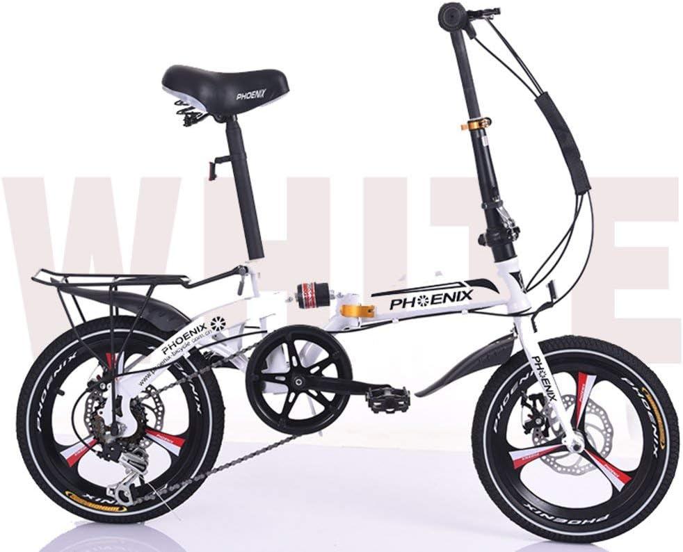 Bicicleta plegable de 16 pulgadas, bicicleta plegable de cercanías para niños adultos Estudiantes de escuela primaria primaria Bicicleta liviana para automóvil de velocidad que absorbe los golpes
