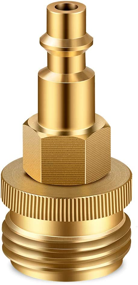 "Brass Winterize Blow Out Plug with 1/4"" Male Air Quick Connect Plug and 3/4"" male Garden Hose Threading, Blowout Adapter Quick Fitting for RV/Camper/Boat/Travel Trailer Water Lines Winterizing"
