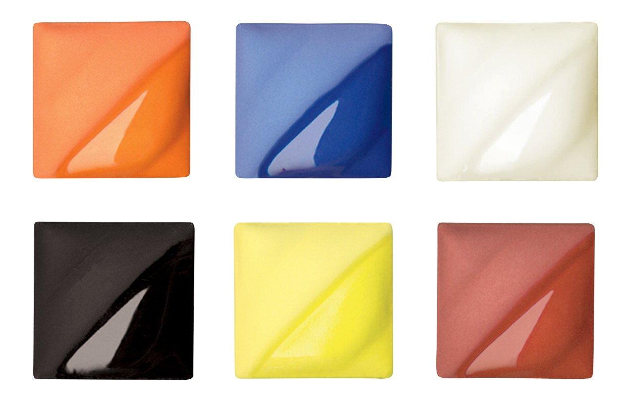 AMACO Velvet Semi-Translucent Underglaze Classroom Pack, Assorted Colors, Set of 6
