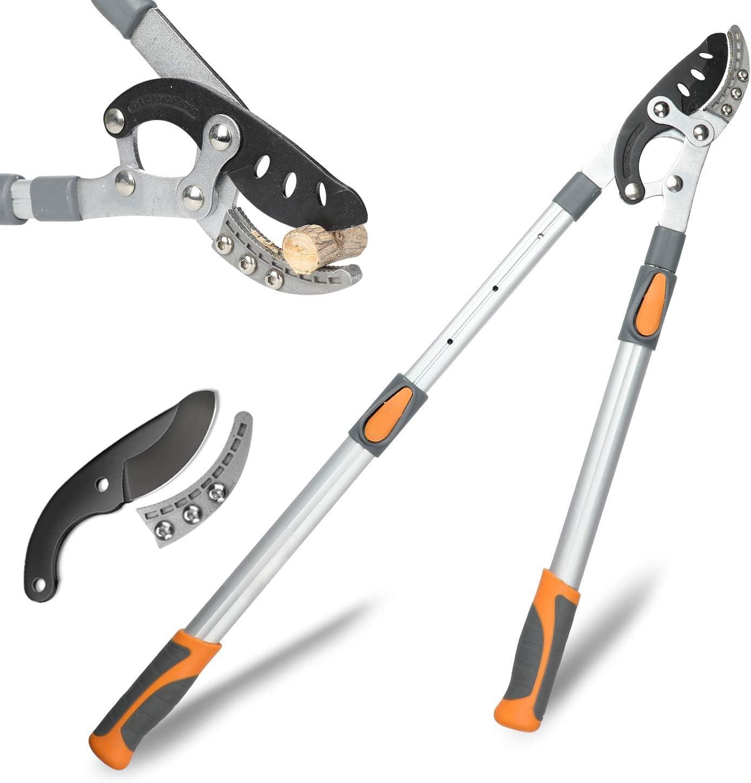 AIRAJ Tijeras de podar extensibles para yunque y derivación, juego de herramientas de jardín manuales profesionales con cuchillas de acero de alto carbono SK5, mango telescópico de aluminio ligero