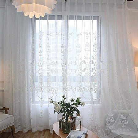 Miju Cortinas Transparentes Blancas, Pantalla Bordada De La Ventana Estilo Europeo Bordado De Algodón Translúcido para La Sala De Estar, Dormitorio, Blanco Grand: Amazon.es: Hogar