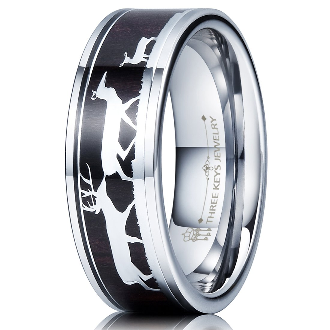 Three Keys Jewelry 8mm Tungsten Wedding Ring with Ebony Black Sandalwood Antler Deer Family Inlay Hunting Ring Wedding Band Engagement Ring Size 9.5 by Three Keys Jewelry (Image #1)
