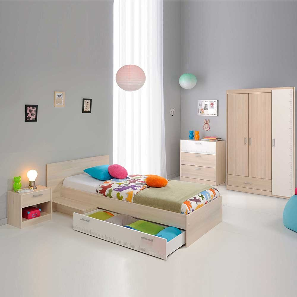 Pharao24 Jugendzimmermöbel Set in Akazie Weiß online kaufen