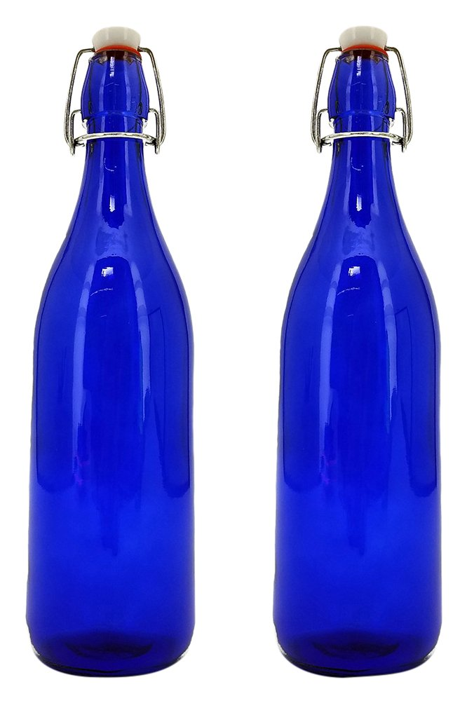 Modern Home 1L/34oz Culaccino Swing Top Round Glass Bottle - Textured Squares Cobalt Blue - Set of 6 Vandue STB-TEXBLUE-SETOF6