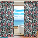 SAVSV Window Sheer Curtains Panels Voile Drapes Morden Floral Design 55'' W x 78'' L 2 Panels Great For Living Room Bedroom Girl's Room