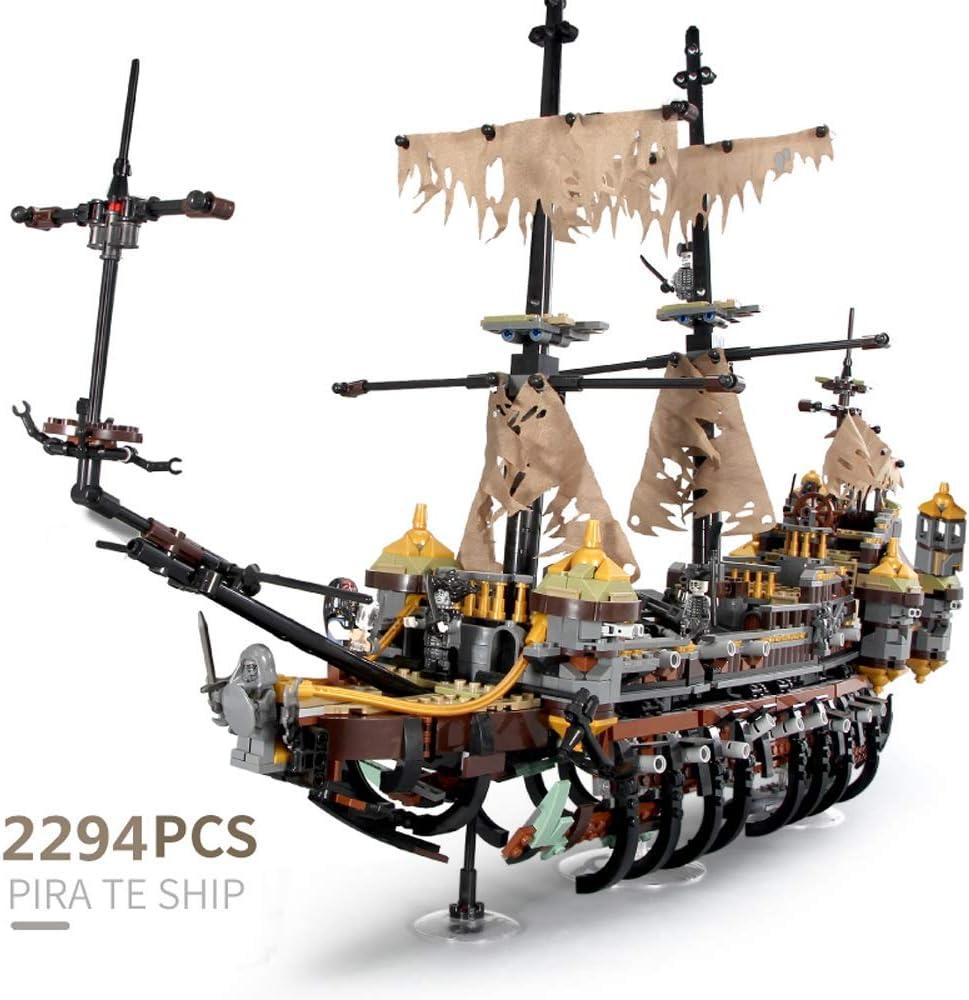Tritow Serie barco pirata del Caribe de alta dificultad de bricolaje Building Blocks Juguetes Niño Adulto bloques de montaje Negro Perla Modelo unión de bloques de juguete Puzzle niños Ensamble silenc