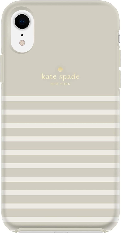 kate spade new york Clocktower Grey/Cream Feeder Stripe Case for iPhone XR - Protective Hardshell