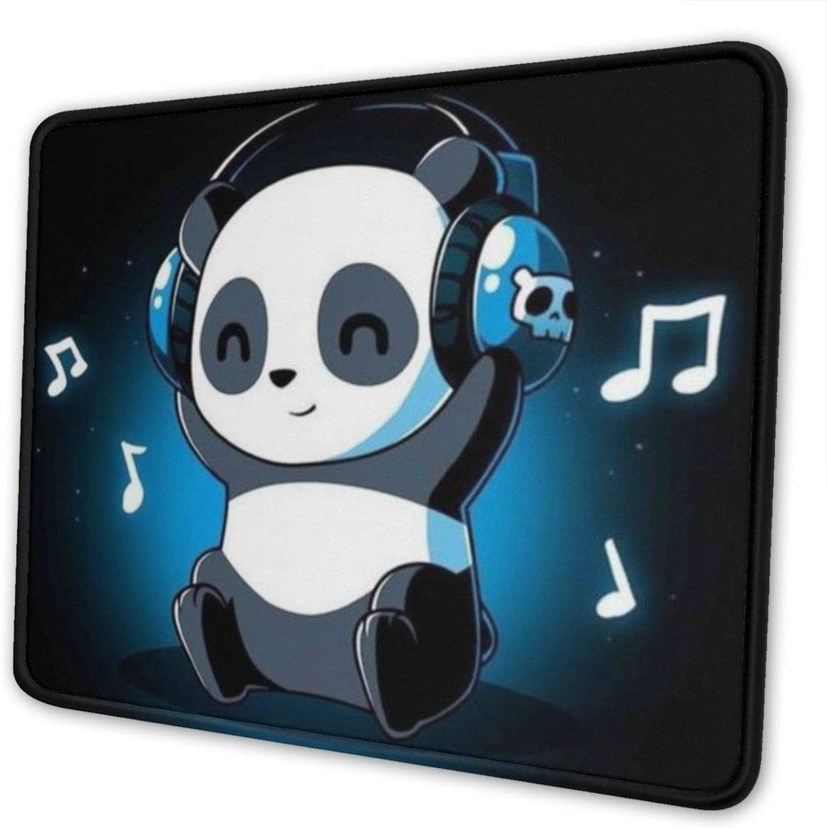 Dj Panda Pattern Gaming Mouse Pad with Stitched Edge Premium-Textured Mat Non-Slip Rubber Base for Desktop Laptop Computers Keyboard Office 10×12 Inches