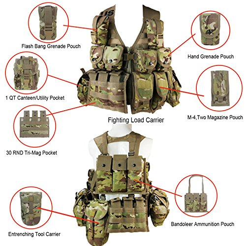 (Rifleman Set,US Army Military Multicam Cordura FLC LBV Fighting Load Carrier Vest +13pouches(3 Two-Magazine,1 Entrenching Tool,2 Hand Grenade, 2 Flash Bag,1 Ammunition,2 Canteen,2 RND Tri-Mag))