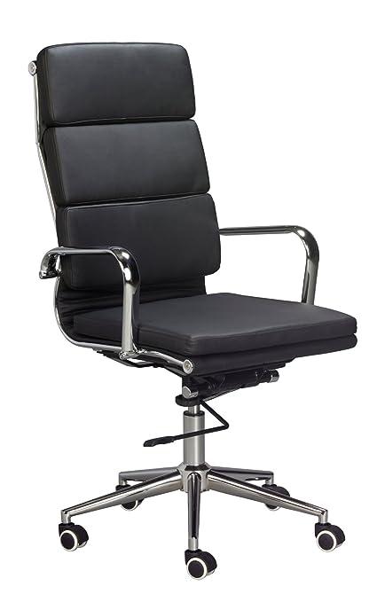 Classic Replica High Back Office Chair   BLACK Vegan Leather, Thick High  Density Foam,