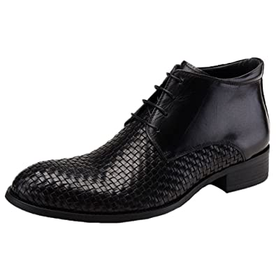 fa8a4daa7340 Santimon Men s Dress Boots Ankle Oxford Woven Leather Lace up Booties Black  5.5 D(M