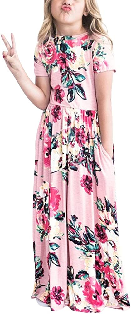 Tanhangguan Girls Floral Maxi Dresses Fashion Toddler Girls Kid Casual Holiday Party Beach Dress Outfits Clothes