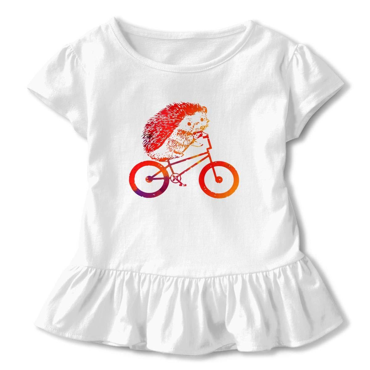 Cheng Jian Bo Cute Hedgehog Riding Toddler Girls T Shirt Kids Cotton Short Sleeve Ruffle Tee