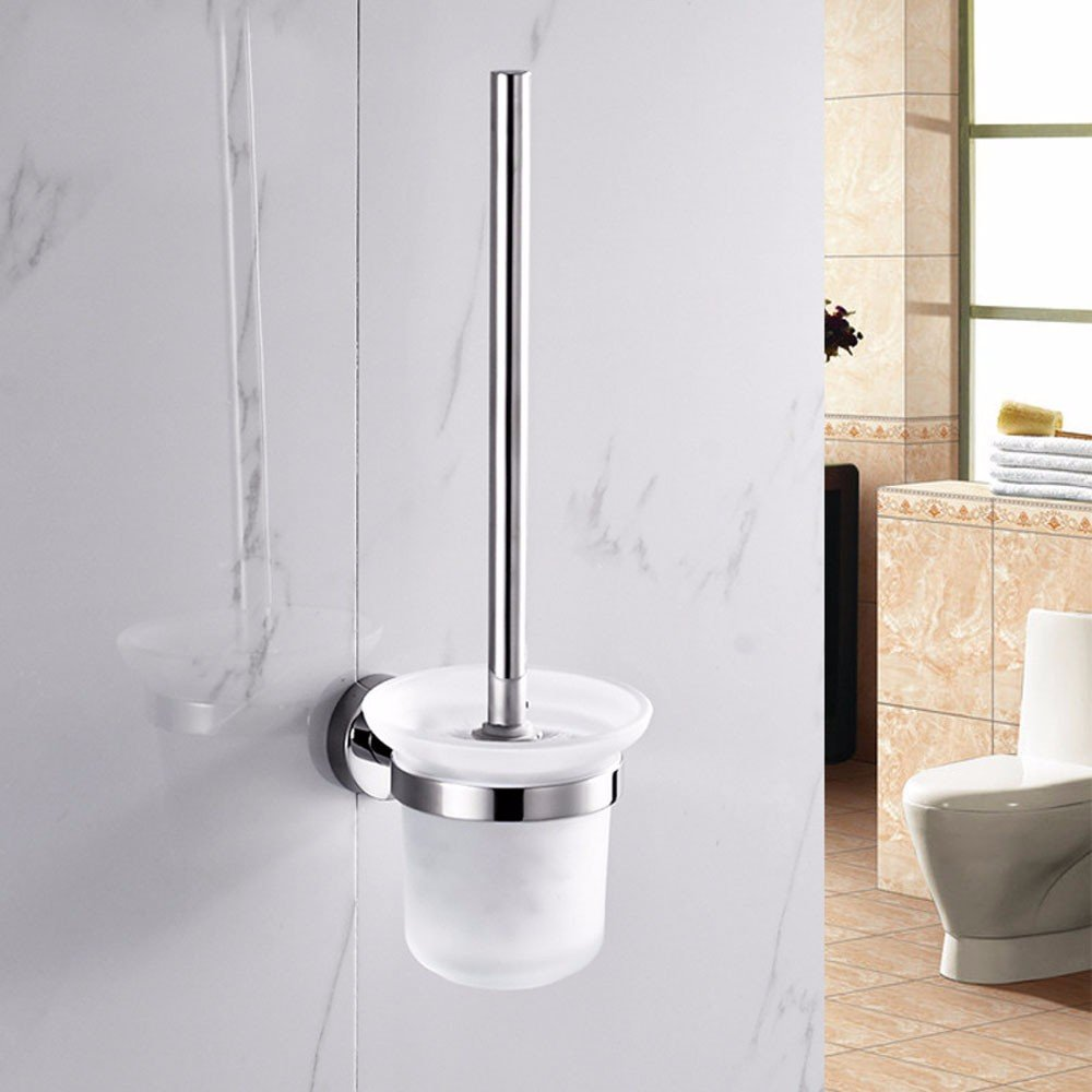 Lx.AZ.Kx Toilet Brush and Holder with long handle for Bathroom Toilet Stainless Steel Chrome Plated Kit Plating