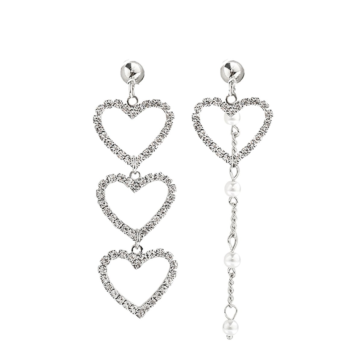 FVERMECKY Heart Asymmetrical Dangle Stud Earrings Made with Crystals for Women for Girls(Silver Color)
