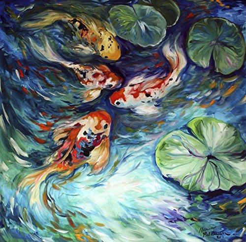 Dancing Colors Koi by Marcia Baldwin Art Print, 16 x 16 inches