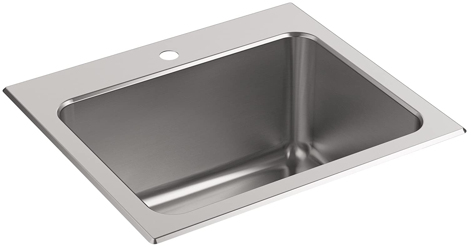 KOHLER K-5798-1-NA Ballad 25-Inch x 22-Inch Top-Mount Utility Sink with Single Faucet Hole, Stainless Steel