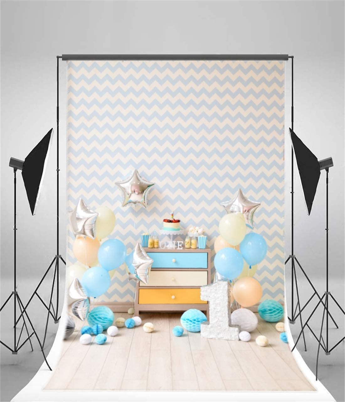 Yeele Birthday 4x6ft Photography Backdrop Happy Birthday Paper Flowers Blue Balloon One Year Old Wave Light Brown Wooden Floor Photo Backdrop Baby 1st Portrait Shooting Studio Props Wallpaper