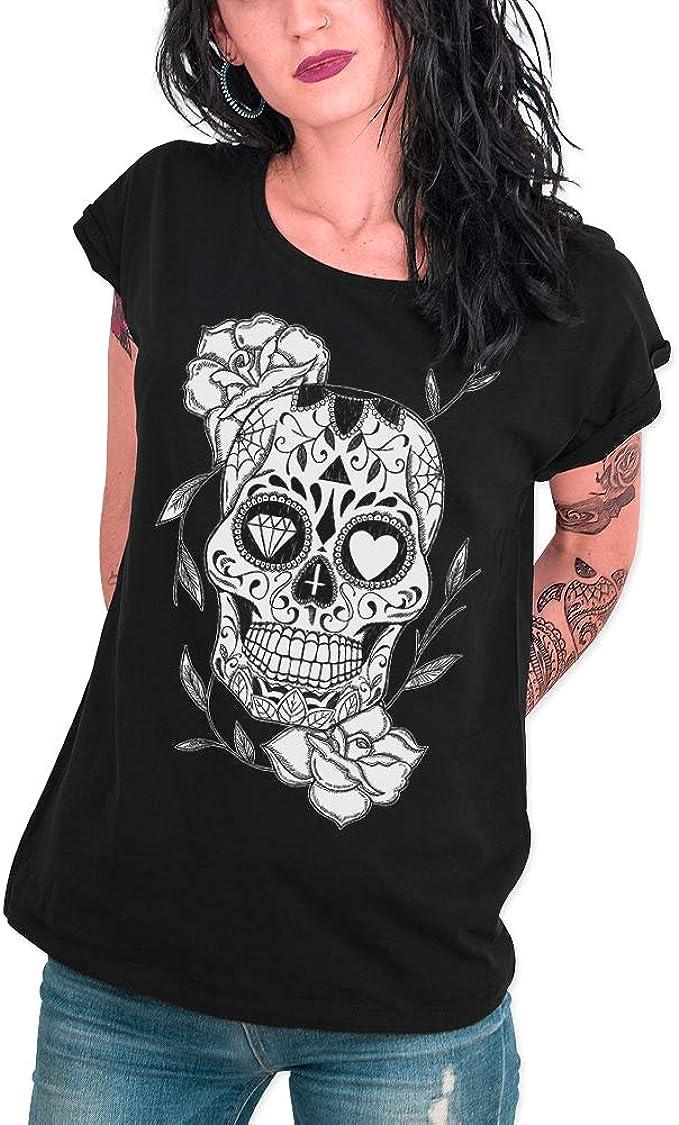 Camiseta Rock Mujer Estampado Calavera