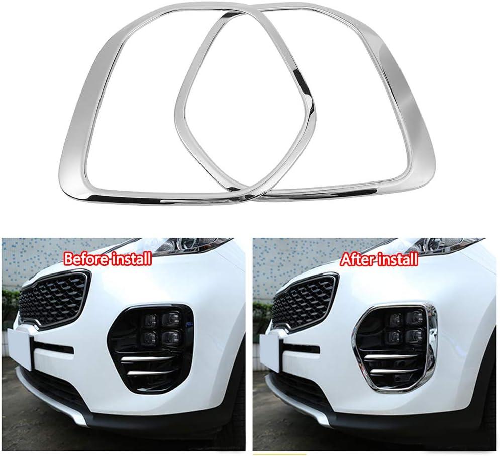 Cuque Fog Light Lamp Trim ABS Plastic 1 Pair of Front Fog Light Cover Trim Frame for Kia Sportage KX5 QL 2015 2016 2017 2018 Chrome Color