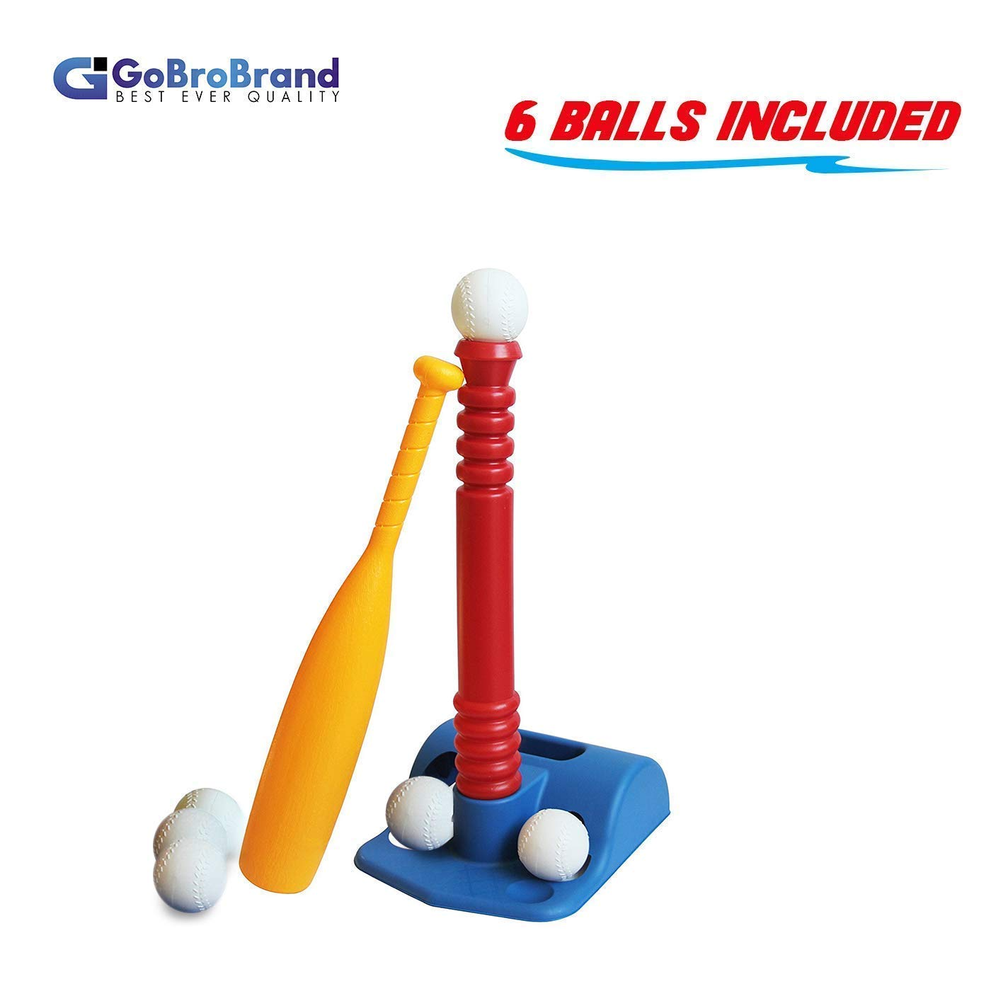 GoBroBrand T-Ball Set for Toddlers, Kids, Baseball Tee Game Includes 6 Balls, Adjustable T Height - Adapts with Your Child's Growth Spurts, Improves Batting Skills for Boys & Girls Age 2-12 Yrs Old by ToyVelt