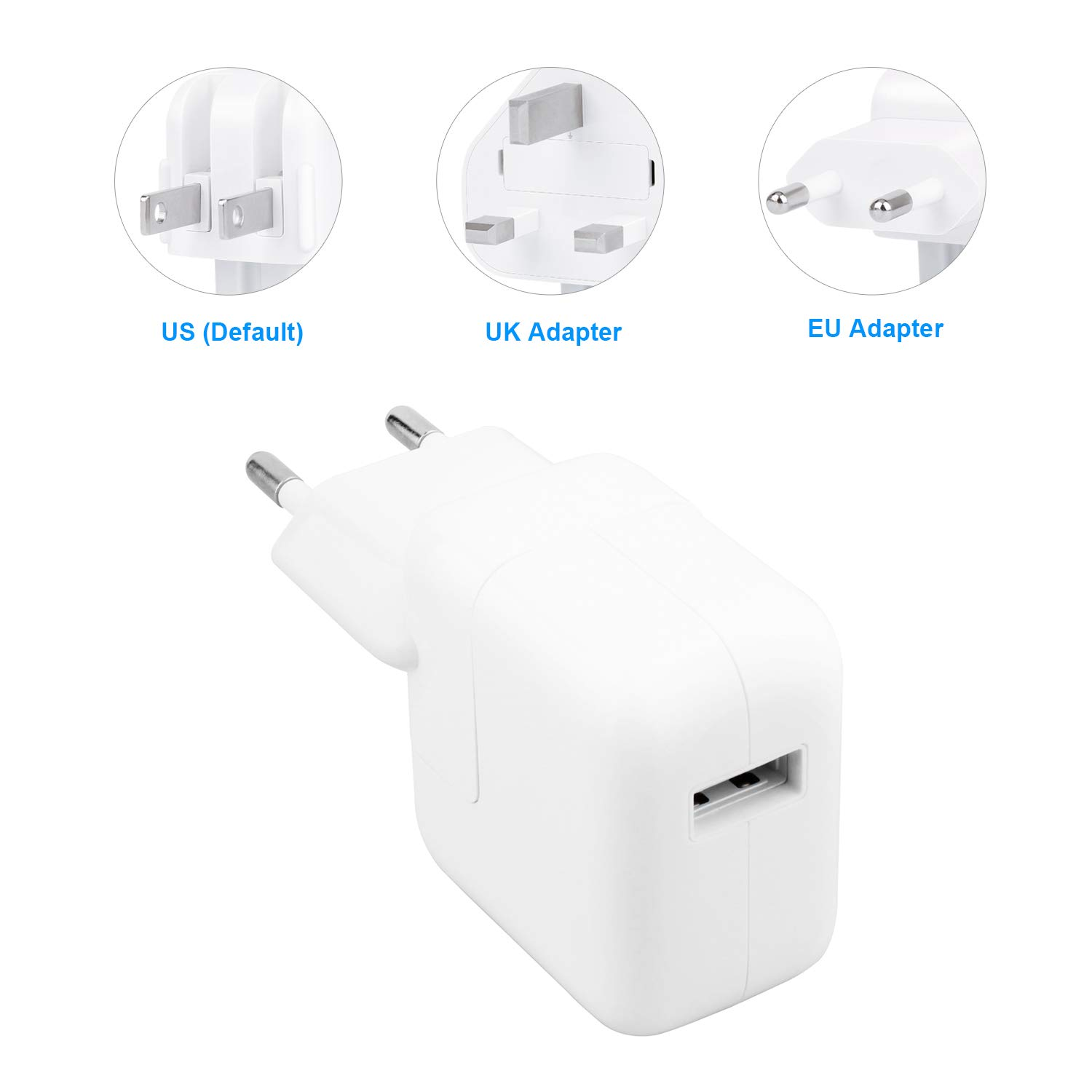 UrbanX 12W Cargador Portátil USB Power Adapter y USB Cable Compatible con iPad Pro 9.7/10.5/12.9 Air 1/2 Mini 2/3/4 - con UK y US Intercambiables ...