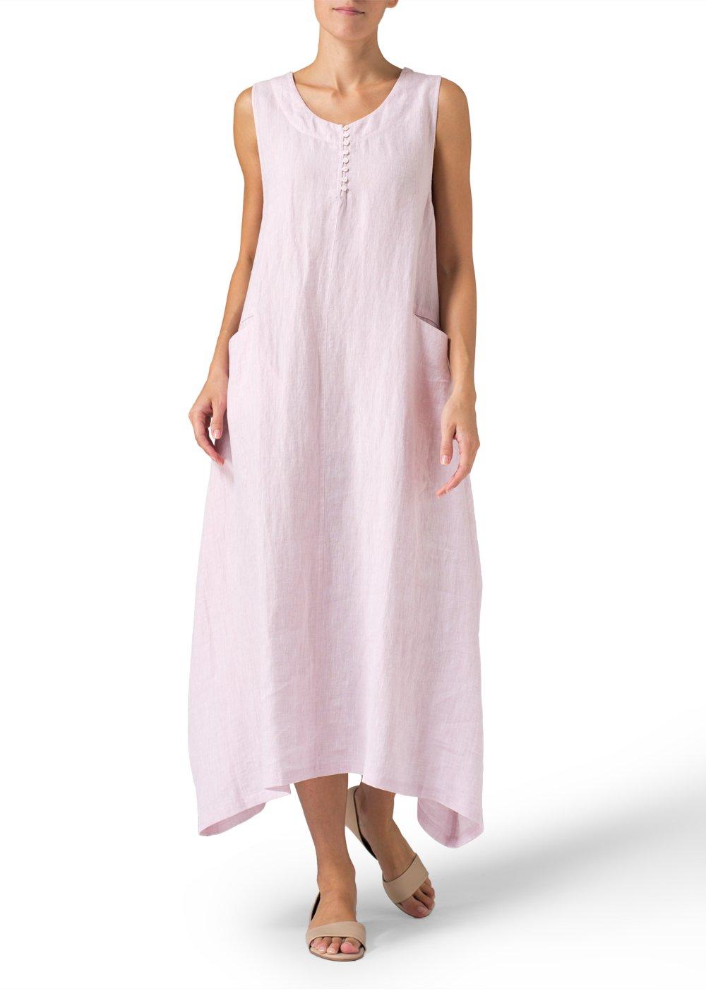 Vivid Linen Sleeveless Long Dress-1X-Soft Pink